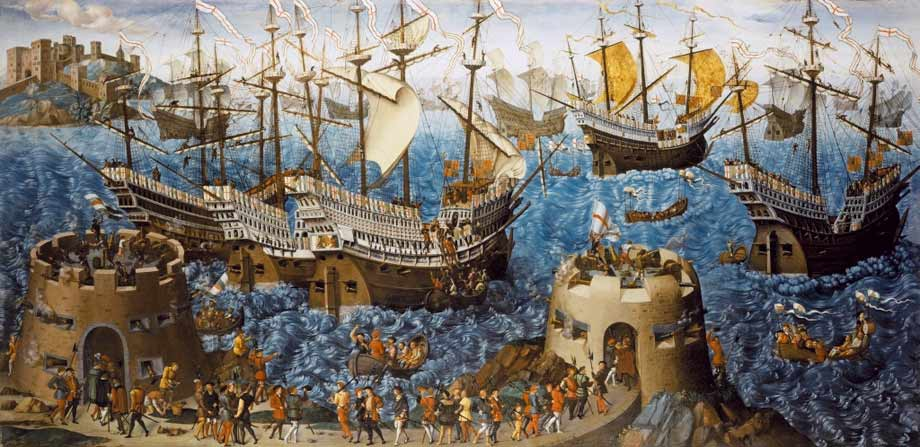 James Basire's print of a 16th century painting of Henry VIII's embarkation at Dover, 1520. Painting is in the Royal Collection