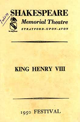 Programme King Henri VIII - Shakespeare Memorial Theatre - 1950 Festival - Private Collection