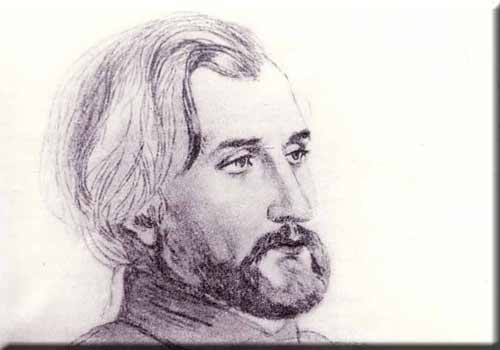 Charcoal sketch of Turgenev by Pauline Viardot with kind permission by Mme Nina Maximovna Kirillovskia. Director of the Turgenev-Museum in Orel (Russia)